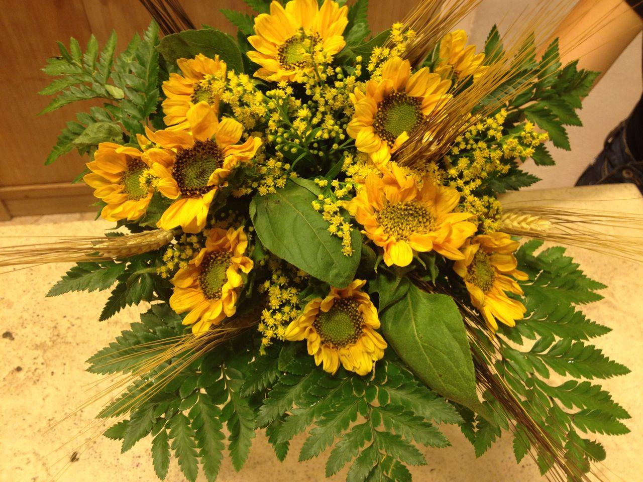 Girasoli Matrimonio : Elisabetta fiori e piante bouquet di girasoli grano